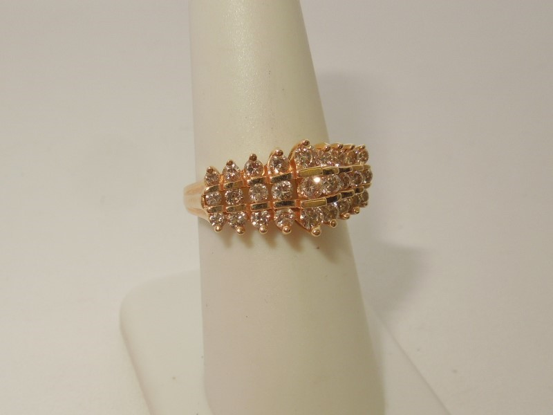 Lady's Diamond Fashion Ring 27 Diamonds .99 Carat T.W. 14K Yellow Gold 4.3g