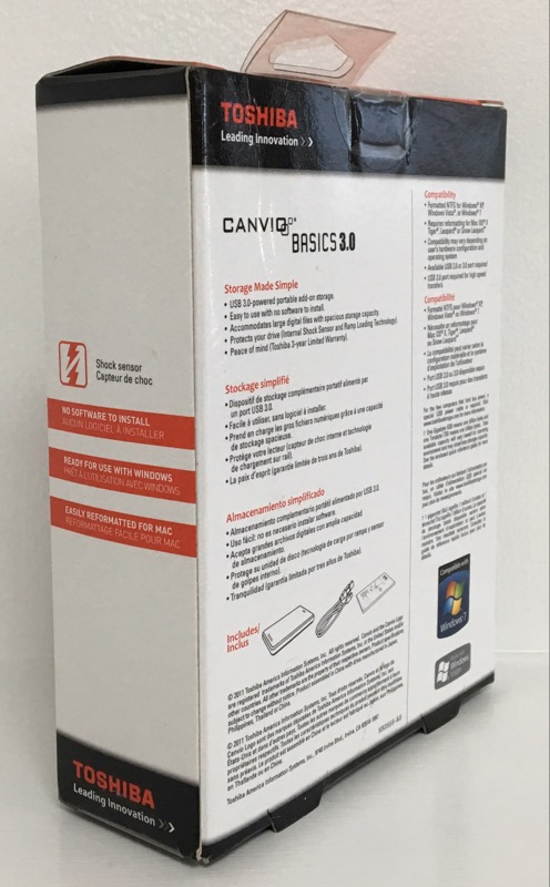 TOSHIBA CANVIO BASICS USB 3.0 500GB EXTERNAL HDD HDTB105XK3AA
