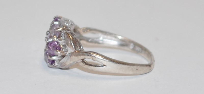 Women's Sterling Silver Shared Prong Amethyst CLuster Ring Size 8