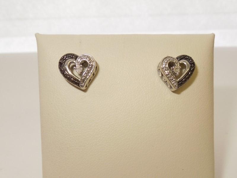 Silver-Diamond Earrings 2 Diamonds .02 Carat T.W. 925 Silver 2.6g