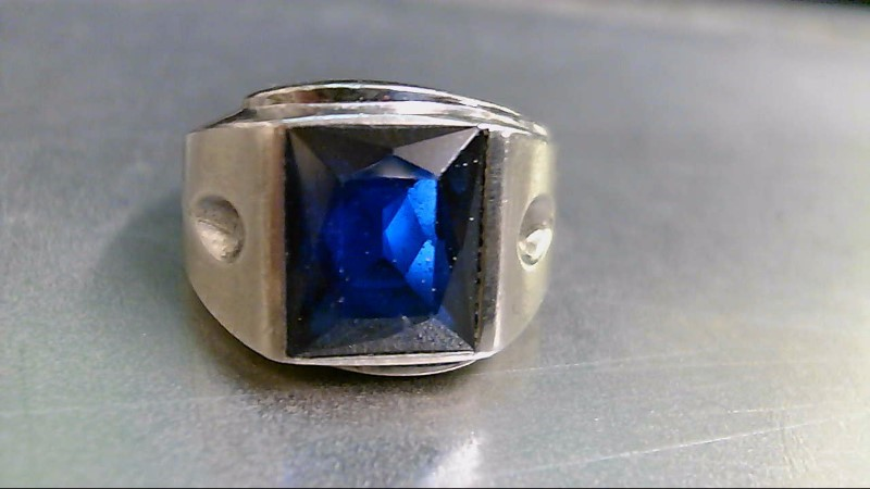 Blue Stone Gent's Stone Ring 10K White Gold 10.5g