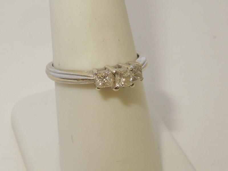 Lady's Diamond Engagement Ring 3 Diamonds .50 Carat T.W. 14K White Gold 2.5g
