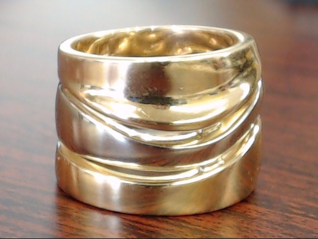 PETER WONG 3 BAND WAVE RING SOLID REAL 18K GOLD HEAVY 19g SIZE 6.5