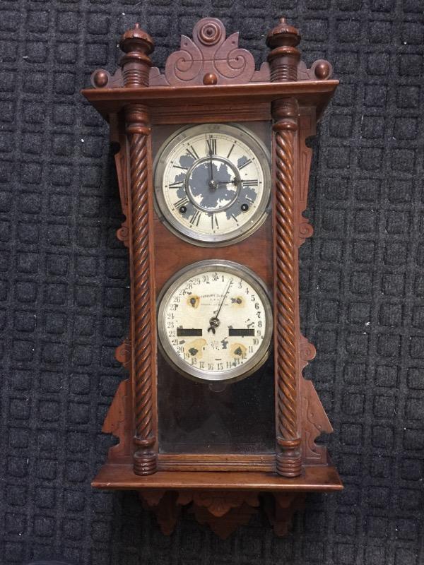 OLD CLOCK WATERBURY  NOT WORKING WALL HANGER