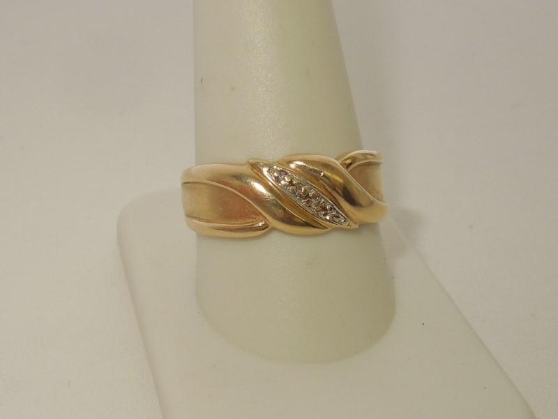 Gent's Gold-Diamond Wedding Band 4 Diamonds .020 Carat T.W. 10K Yellow Gold