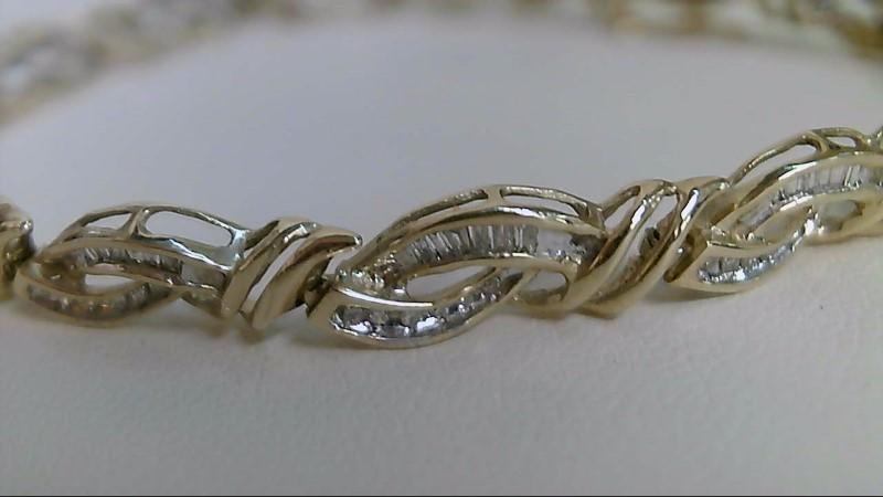 Gold-Diamond Bracelet 156 Diamonds .780 Carat T.W. 10K Yellow Gold 7.3g