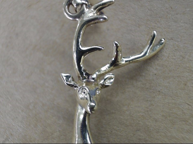 "ESTATE LARGE 2"" DEER PENDANT CHARM REAL 14K GOLD ANIMAL STAG HUNT"