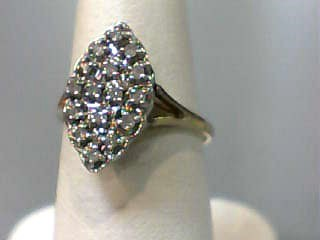 Lady's Diamond Cluster Ring 16 Diamonds .16 Carat T.W. 10K Yellow Gold 1.6dwt