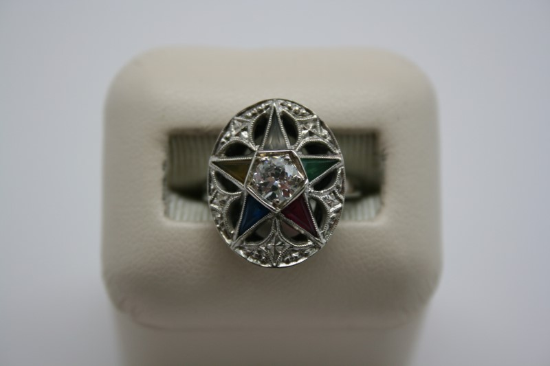 EASTERN STAR DIAMOND RING 10K WHITE GOLD