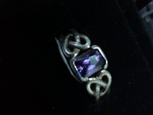 Purple Stone Lady's Silver & Stone Ring 925 Silver 4g