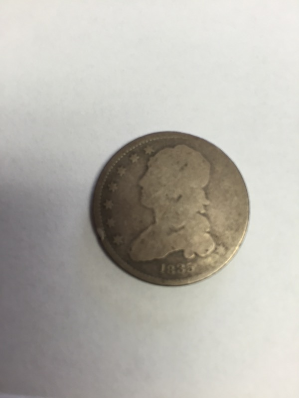 1835 United States Silver Coin CAPPED BUST QUARTER
