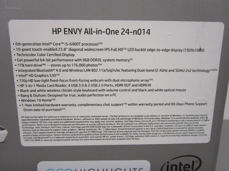 "HEWLETT PACKARD ENVY ALL-IN-ONE PC 24-N014, 23.8"" TOUCH SCREEN"