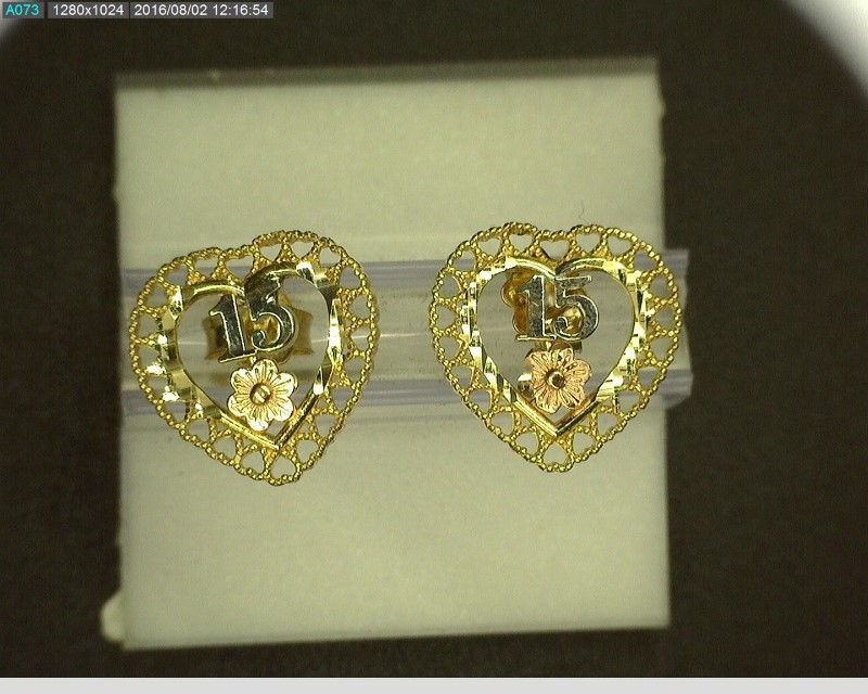 "Gold Earrings 10K Tri-color Gold ""15"" 1.6g"