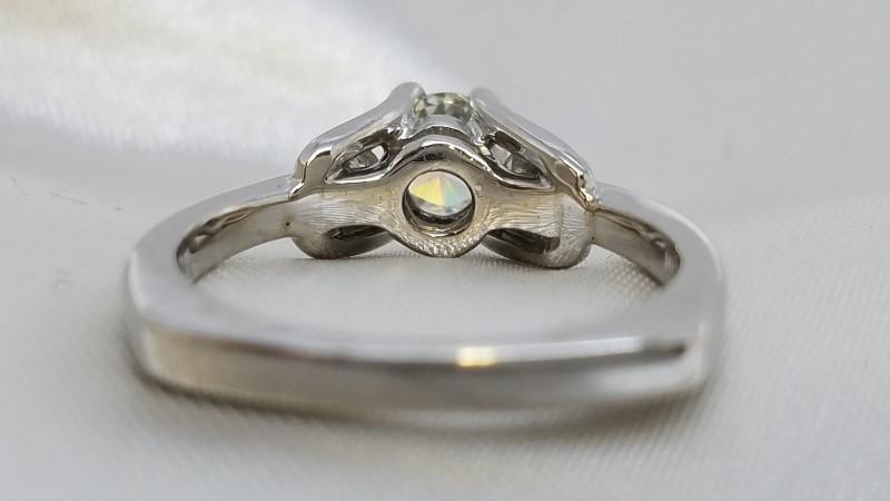 Lady's Engagement Ring 3 Diamonds .72 Carat T.W. 14K White Gold 3.8g