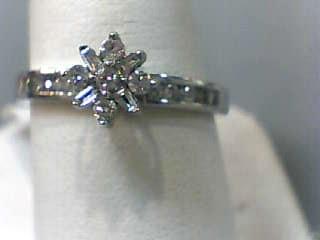 Lady's Diamond Engagement Ring 19 Diamonds .30 Carat T.W. 14K White Gold 1.7dwt