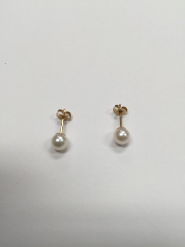 Synthetic Pearl Gold-Stone Earrings 14K Yellow Gold 0.5g