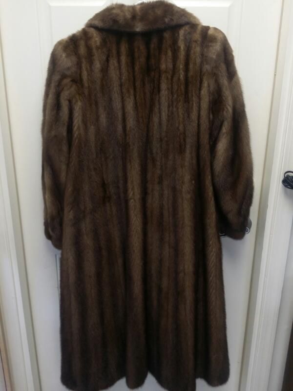 Chocolate Mink Fur Coat Albert Kaufman Full Length Vertical Stripes