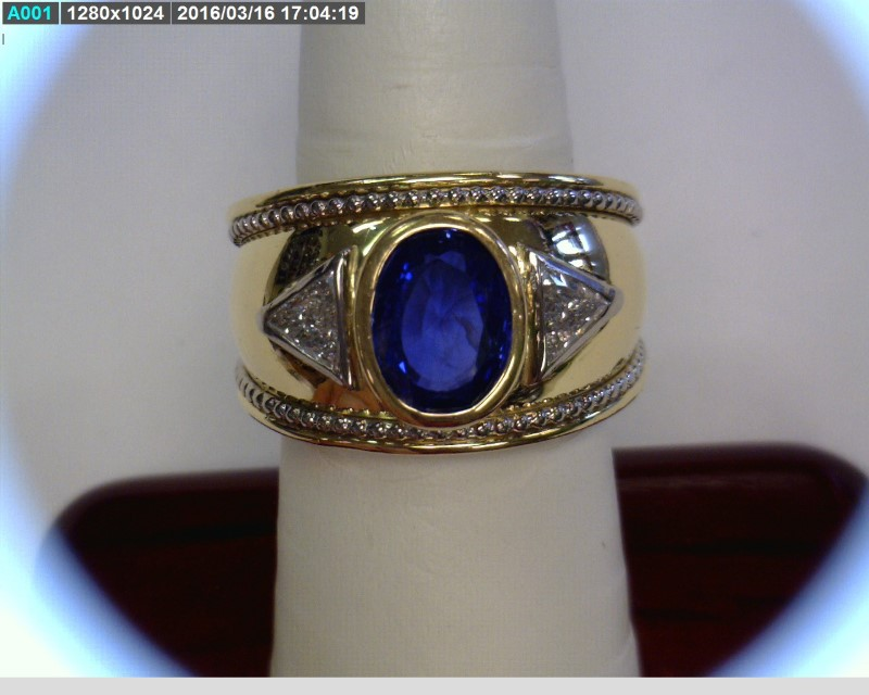 Tanzanite Gent's Stone & Diamond Ring 2 Diamonds .62 Carat T.W. 18K 2 Tone Gold