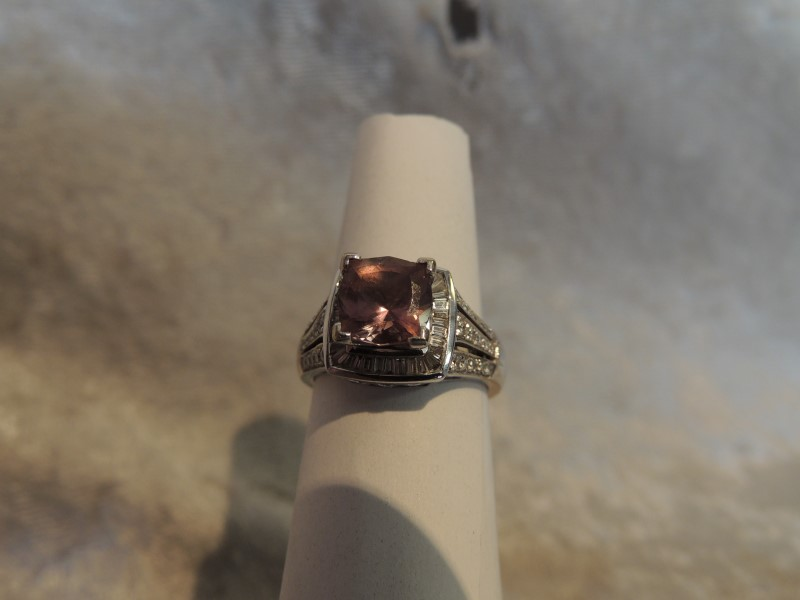 Synthetic Pink Tourmaline Lady's Stone & Diamond Ring