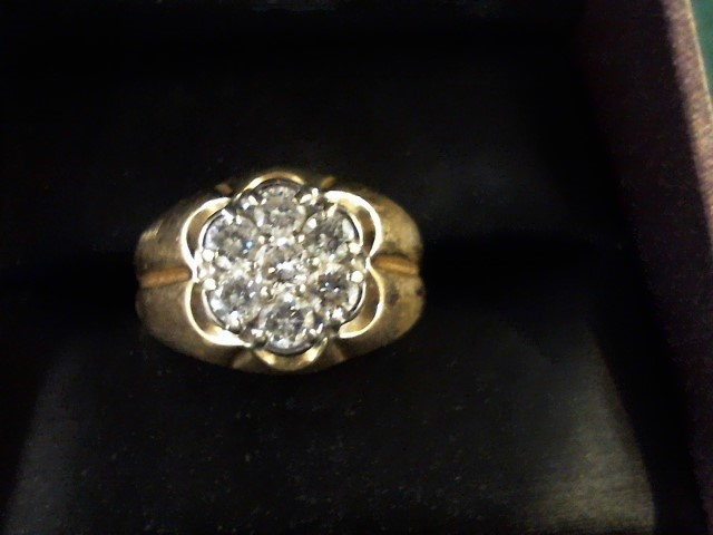 Gent's Diamond Cluster Ring 7 Diamonds .70 Carat T.W. 14K Yellow Gold 6.6g