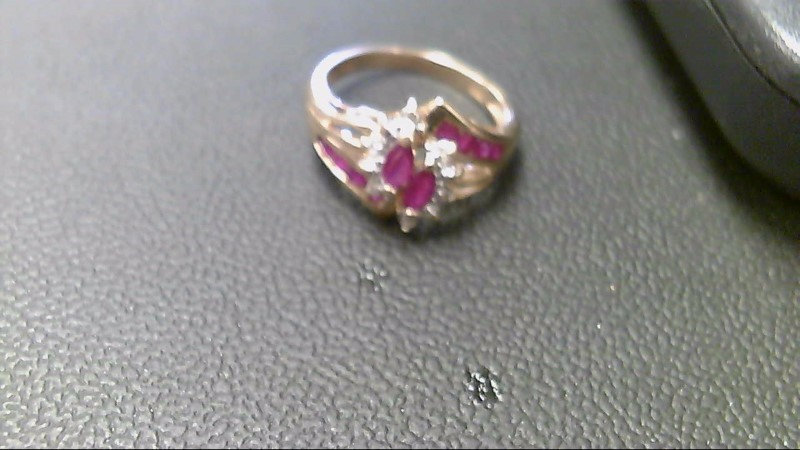 Ruby Lady's Stone Ring 10K Yellow Gold 3.1g