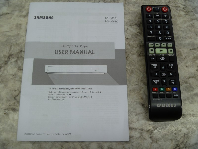 SAMSUNG BD-JM63 3D WI-FI 4K UPSCALING BLU-RAY DISC PLAYER WITH REMOTE AND MANUAL