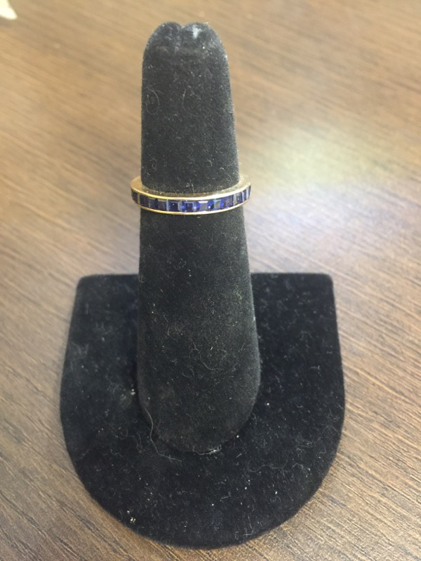 Blue Stone Lady's Stone Ring 14K Yellow Gold 3.4g Size:4.5