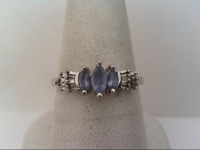Lady's Diamond Fashion Ring 2 Diamonds .02 Carat T.W. 10K White Gold 1.55g