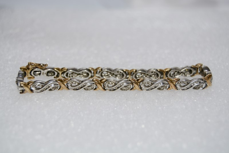 "10K Women's 7"" Two-Tone Gold & Channel Set Diamond Bracelet"