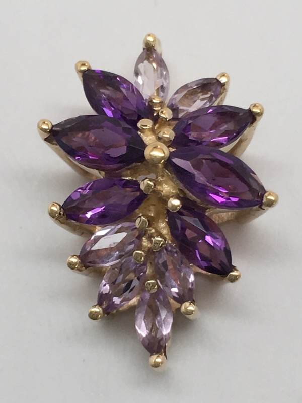FASHION AMETHYST PENDANT 9K YELLOW GOLD