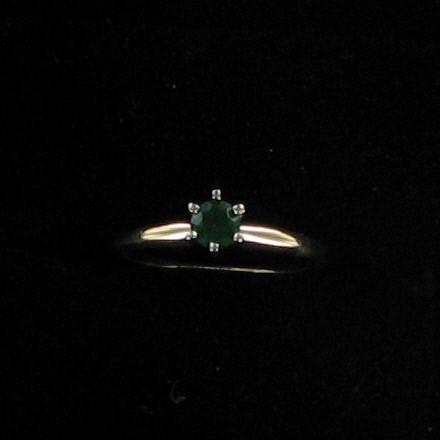 Synthetic Emerald Lady's Stone Ring 14K Yellow Gold 0.9dwt