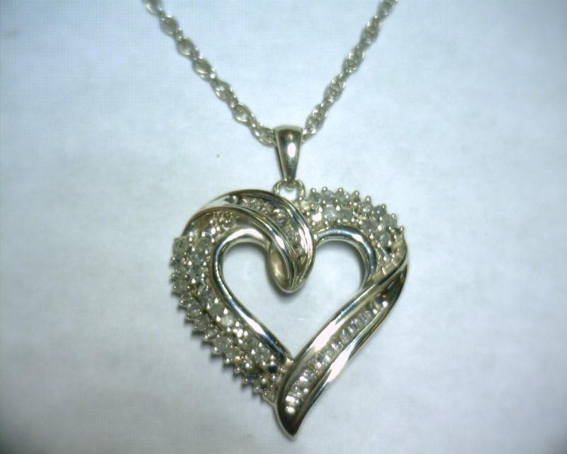 "17"" Diamond Necklace 36 Diamonds .36 Carat T.W. 925 Silver 4.2dwt"