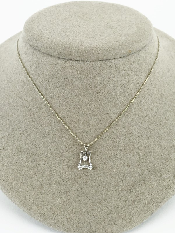 "Diamond Pendant 3 Diamonds .03 Carat T.W. 14K White Gold 1.91g 20"" Chain"