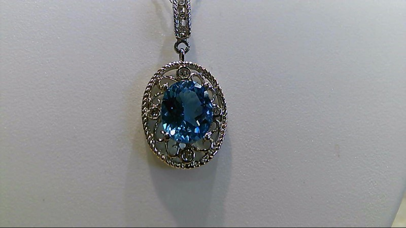 Synthetic Blue Topaz Stone Necklace 14K White Gold 5.1g
