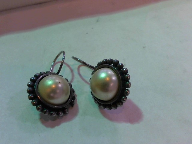 Synthetic Pearl Silver-Stone Earrings 925 Silver 4.5g
