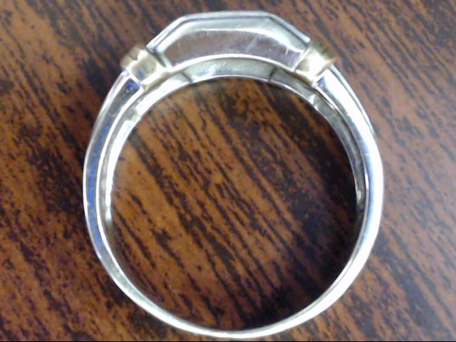 VINTAGE DIAMOND WED RING BAND SOLID REAL 10K WHITE GOLD MEN SZ 10.75