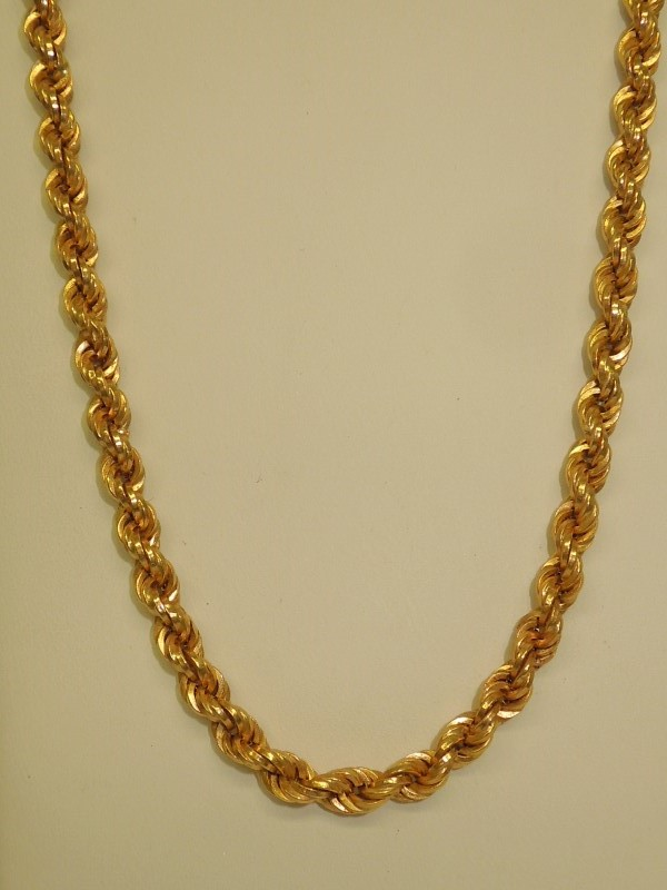 "22"" Gold Rope Chain 18K Yellow Gold 18.4g"