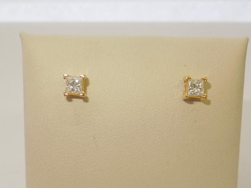 Gold-Diamond Earrings 2 Diamonds .50 Carat T.W. 18K Yellow Gold 0.8g