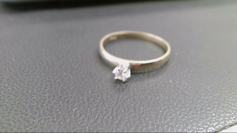 Synthetic Cubic Zirconia Lady's Stone Ring 10K Yellow Gold 1.4g