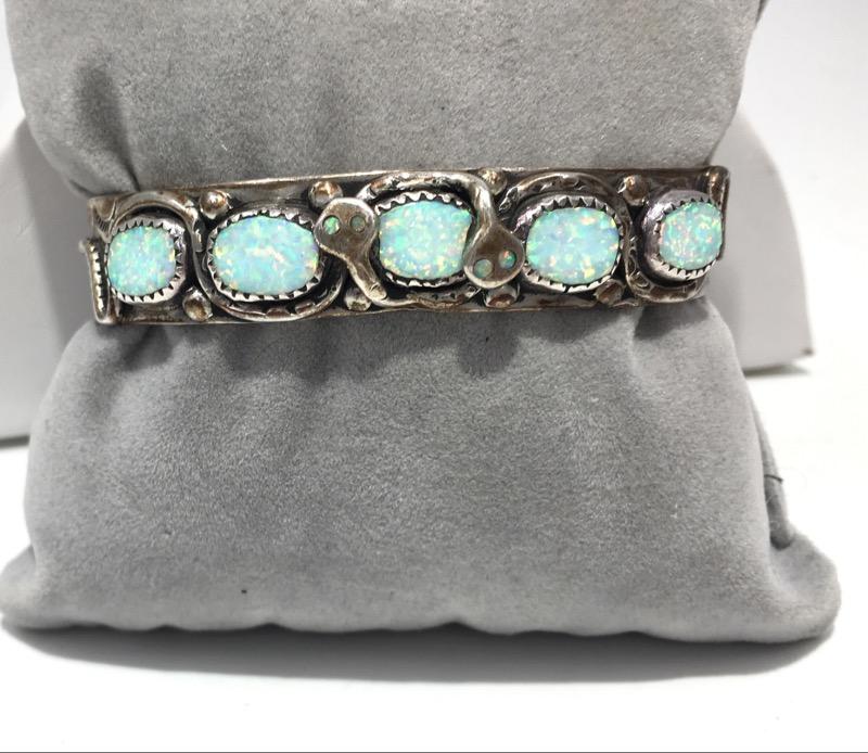 EFFIE C. ZUNI Vintage Sterling Silver Opal Snake Cuff Bracelet
