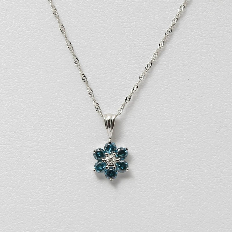 14K White Gold Round Brilliant Blue Diamond Flower Necklace