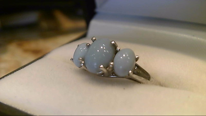 Blue Jade Lady's Silver & Stone Ring 2.5g