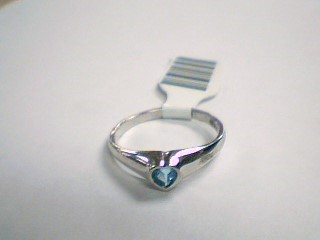 Teal Stone Lady's Stone Ring 14K White Gold 3g Size:6.5
