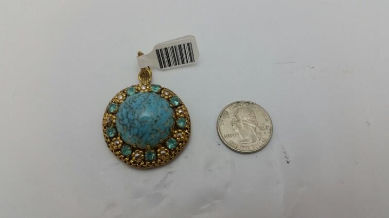Gold Toned Vintage Inspired Southwestern Large Cabochon Turquoise Pendant