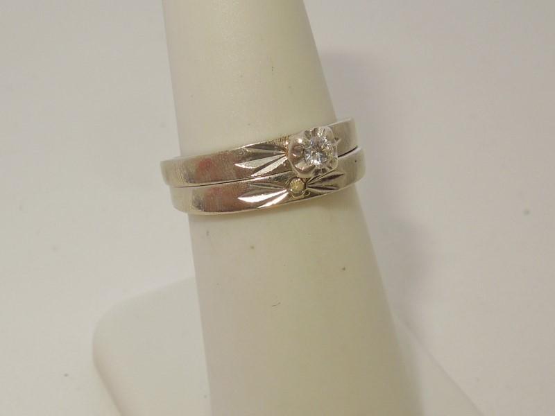 Lady's Diamond Wedding Set 2 Diamonds .11 Carat T.W. 10K White Gold 4.6g