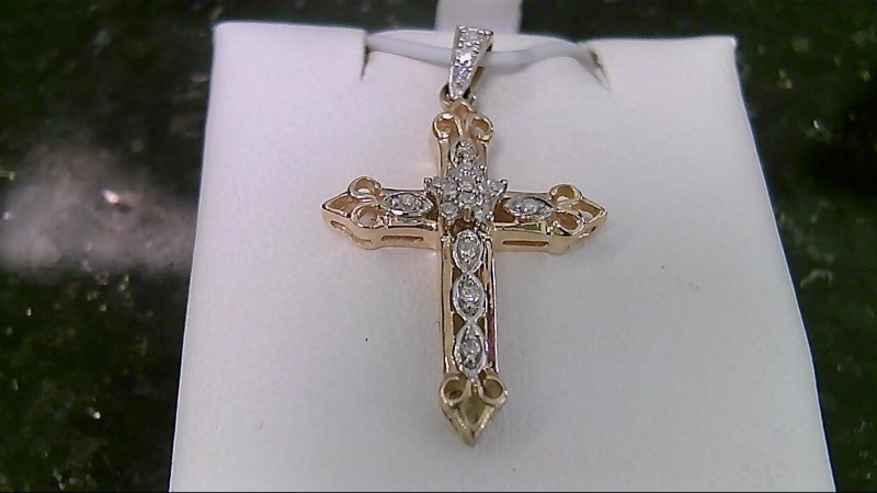 14K Multi Brilliant Cut Round Diamond Yellow Gold Cross Pendant