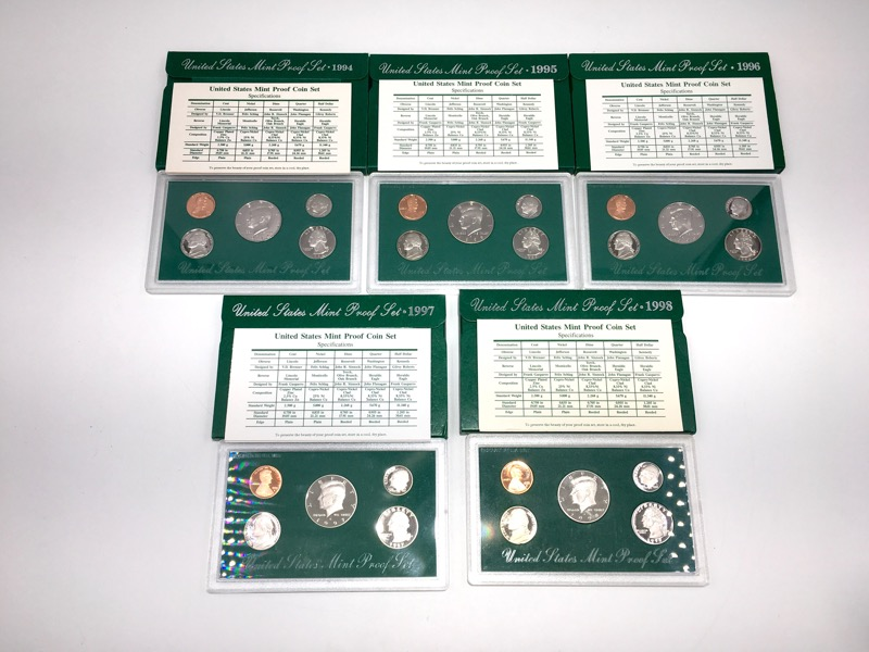 1994-1998 United States Proof Sets - 25 Coins 5 Sets - Box & COA