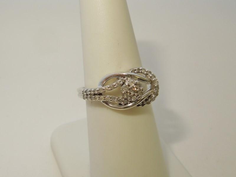 Lady's Silver-Diamond Ring 37 Diamonds .44 Carat T.W. 925 Silver 3.6g