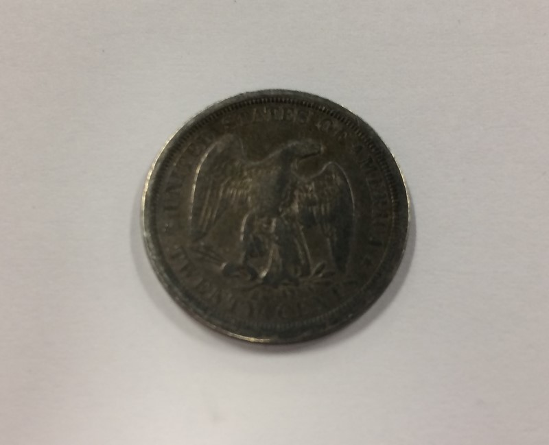 UNITED STATES 1875 S TWENTY CENT LIBERTY SEATED SILVER COIN