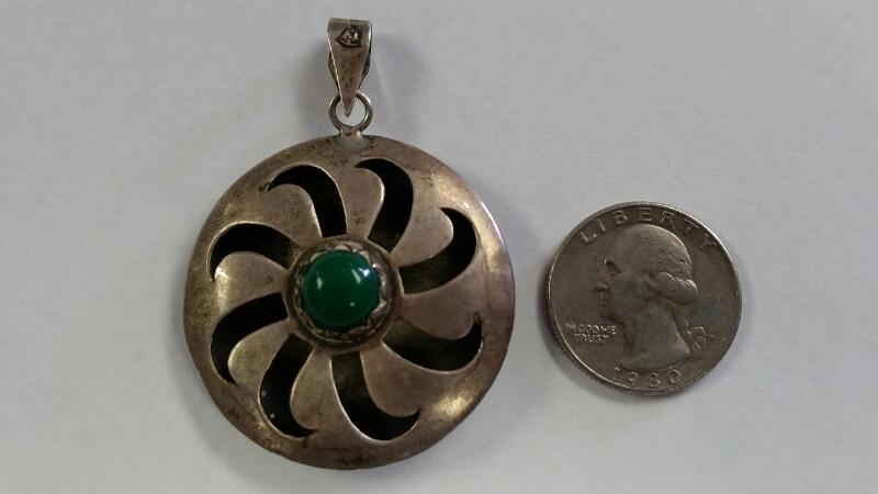 Sterling Silver Southwestern Inspired Green Turquoise Large Swirling Sun Pendant